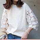 韓國 顯瘦七分袖蕾絲圓領T