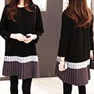韓國 早春名媛氣質寬鬆連身裙