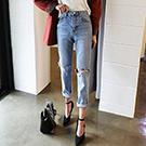 正韓✦個性顯瘦高腰牛仔褲