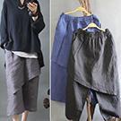 鬆緊褲頭斜邊一片裙設計褲裙