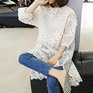 韓系 蕾絲寬鬆連身裙含內搭