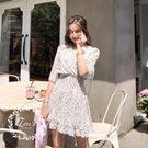 韓國甜美碎花V領洋裝