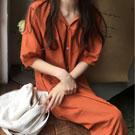 皺摺領襯衫式洋裝連身裙