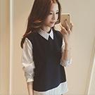 韓版學院風假兩件長袖襯衫
