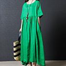 日系棉麻 素色 亞麻A字裙短袖連身裙
