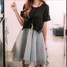 韓版短袖假兩件拼接歐根紗洋裝
