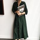 韓國 簡約排扣洋裝