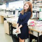 韓國秋裝休閒v領洋裝
