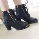 韓國小紅邊粗跟短靴