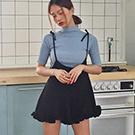 針織修身打底衫+不規則下擺綁帶連身褲套裝
