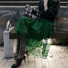 透視感荷葉邊高腰蕾絲長裙