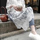 大開叉蕾絲花邊罩衫 洋裝
