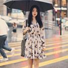 立領單排釦縮腰洋裝