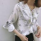 浪漫花紋雪紡衫