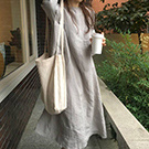 韓國 5分袖不修邊棉麻洋裝
