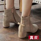 韓國蝴蝶結牛皮短靴