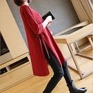 時尚開叉寬鬆長版針織衫