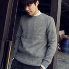 多色粗針織素面圓領毛衣