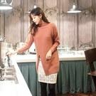 正韓 粉橘色安格拉混羊毛立領側開衩毛海針織上衣