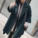 韓國50%羊毛孔雀灰綠大衣