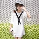 甜美荷葉袖連身裙S-XL