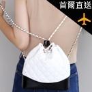 菱格紋鍊條水桶背包