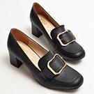 方頭釦飾粗跟紳士鞋