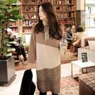 正韓 斜邊拼接色塊長袖棉質洋裝 連身裙