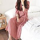 韓系 格子五分袖連身裙 短袖洋裝