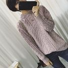麻花編織半高領毛衣