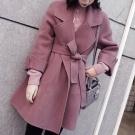 韓國深玫瑰色100%羊毛外套♥