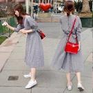 洋裝韓版復古收腰格子連身裙