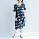 中大尺碼文藝條紋連身裙
