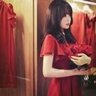 ♥韓國甜美深紅色大裙襬洋裝