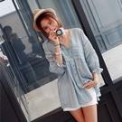 正韓 粉嫩色V領簍空蕾絲荷葉袖棉麻上衣