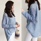 正韓 水藍透膚蕾絲袖口袋絲棉襯衫上衣