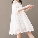 日系露肩刺绣棉麻連身裙