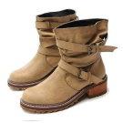 韓國垂感軟皮工程靴