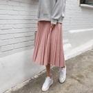 正韓 舒適麂皮側拉鍊鬆緊長裙