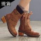 韓國針織綁帶高筒靴