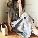 韓系 翻領條紋襯衫連身裙