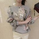 正韓 金字花朵圖騰圓領微刷絨棉質長袖上衣 (2色)