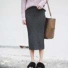 簡約質感彈性鬆緊腰針織半身裙