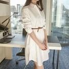 韓國連線純棉襯衫領氣質洋裝