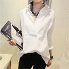 簡約OL風開領深V長袖襯衫