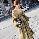 燈籠袖V領上衣高腰長裙套裝