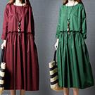 日系 棉麻連身裙