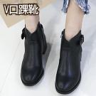 獨家V口開衩釦環短靴