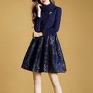 高領針織拼接A字洋裝連身裙