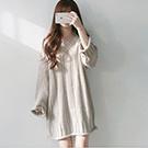 V領寬鬆長版麻花厚毛衣(3色)
